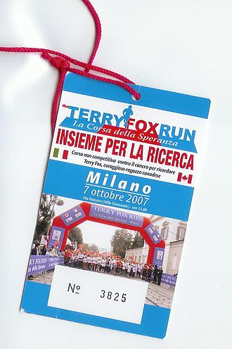 Terry Fox Run - A runner's tag for a Terry Fox Run in Milan, Italy in 2007