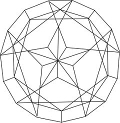 A line drawing showing the five-pointed star feature in the pavilion of the Lone Star gemstone cut.
