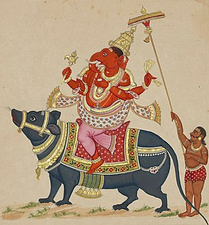 """Painting of Gaṇeśa riding on his vehicle..."