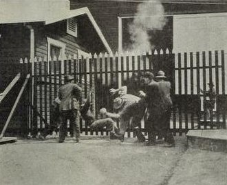 The Absentee (1915 film) - The first riot