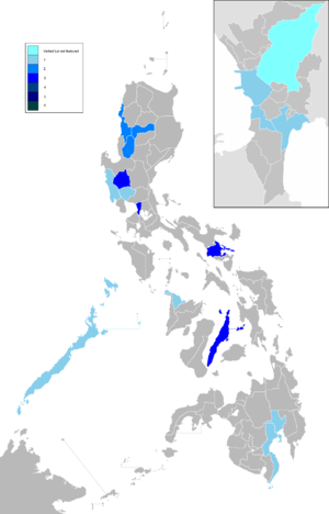The Amazing Race Philippines - The number of places in a province visited by The Amazing Race Philippines. Includes an inset of Metro Manila showing the cities which were visited by the show.