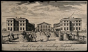 "Foundling Hospital Anthem - Engraving of the Foundling Hospital (c.1750), showing the Chapel (centre) ""now erecting"""