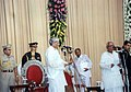 The Governor of West Bengal Shri Gopal Krishna Gandhi administering swearing ceremony of Shri Buddhadev Bhattacharya as Chief Minister of newly formed Government of West Bengal at a function in Raj Bhawan, Kolkata.jpg