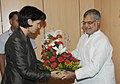 The Head of the Federal Department of Environment, Transport, Energy and Communications of Switzerland (Swiss Confederation), Mrs. Doris Leuthard meeting the Union Minister for Road Transport & Highways and Railways.jpg