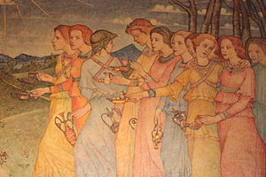 The Parable of the Ten Virgins (section) by Phoebe Traquair, Mansfield Traquair Church, Edinburgh.JPG
