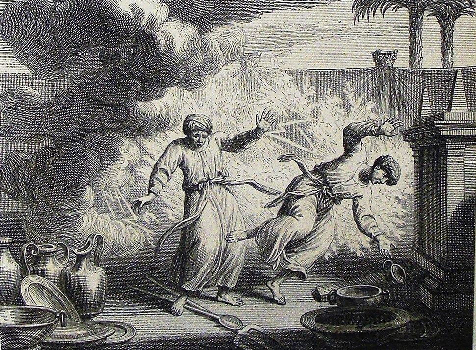 The Phillip Medhurst Picture Torah 527. Nadab and Abihu destroyed. Leviticus cap 10 vv 1-2. Dutch Bible