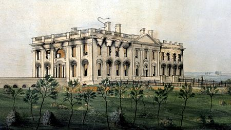 The White House ruins after the conflagration of August 24, 1814. Watercolor by George Munger, displayed at the White House. The President's House by George Munger, 1814-1815 - Crop.jpg