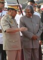 The President, Dr. A.P.J. Abdul Kalam is being welcomed by the Chairman, SPDC, Sr. Gen Than Shwe, on arrival at Yangon International Airport, Myanmar on March 8, 2006.jpg