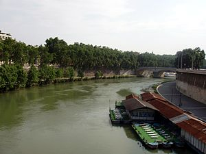 English: Looking north east along the Tiber Ri...