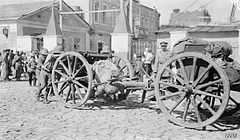 The first British guns arriving in Baku, August 1918, to prepare the defence of the city and its valuable oil resources.jpg
