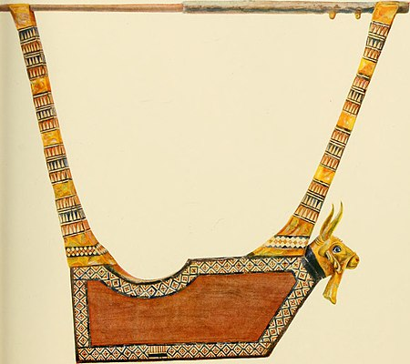 The gold lyre from the Great Death-Pit, Ur excavations (1900).jpg