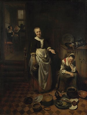 Genre art - The Idle Servant; housemaid troubles were the subject of several of Nicolaes Maes' works