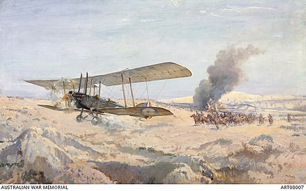 Painting by Septimus Power of Lieutenant Frank McNamara and Captain David Rutherford No. 67 Squadron, 5th Wing Royal Flying Corps, returning from aerial bombing near Gaza on 20 March 1917 The incident for which Lieutenant F.H. McNamara was awarded the VC.JPG
