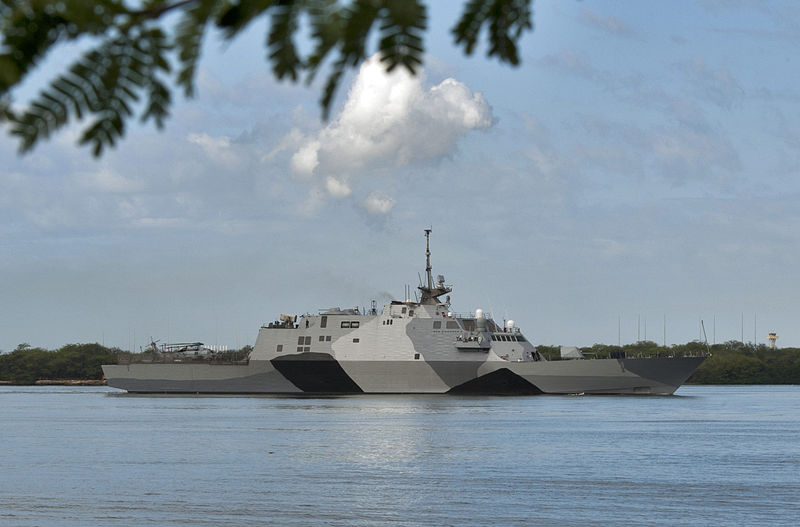 File:The littoral combat ship USS Freedom (LCS 1) arrives at Joint Base Pearl Harbor-Hickam, Hawaii for a scheduled port visit during a deployment to the Asia Pacific region, March 11, 2013 130311-N-WF272-007.jpg