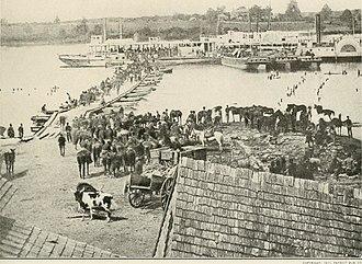 Battle of Haw's Shop - Pamunkey pontoon bridge crossing by Federal cavalry, May 30, 1864