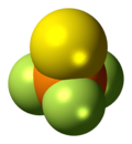 Space-filling model of the thiophosphoryl fluoride molecule
