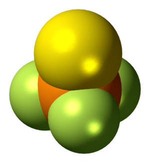 Thiophosphoryl fluoride - Image: Thiophosphoryl fluoride molecule spacefill