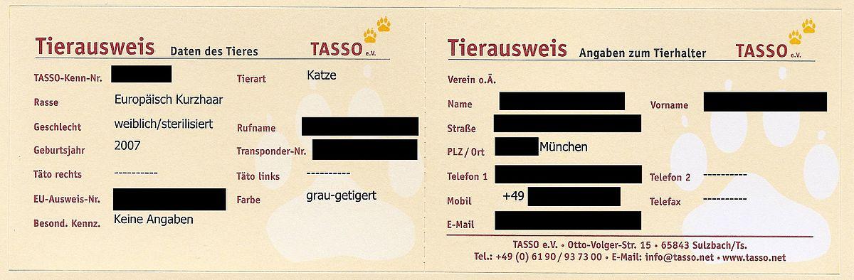 Tasso Registrierung Löschen