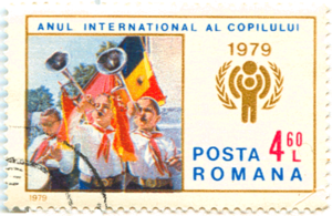 Pioneer Organization - Pioneers on a Romanian stamp celebrating the international year of child