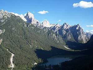 Toblacher See in den Dolomiten