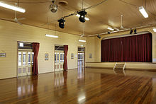 Interior view of the hall, 2011 Toombul Shire Hall - hall (6284966851).jpg