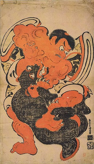 Asian black bear - Kintoki Wrestling with a Black Bear, woodblock print by Torii Kiyomasu I, c. 1700, Honolulu Academy of Arts