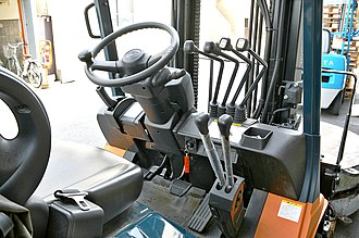 Forklift - Forklift cab with control layout.