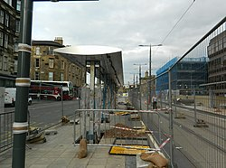 Tram-stop under construction, near Haymarket Station, Edinburgh (geograph 3539377).jpg