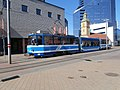 Tram 99 at Paberi Stop in Tallinn 28 July 2013.JPG