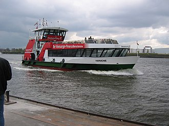 HADAG - Ferry Harmonie: one of the typical flat-iron-shaped ferries (29 April 2006)