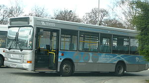 Travel Surrey - Plaxton Pointer bodied Dennis Dart one of the silver buses for routes 555/557 and originally 556 in Byfleet in March 2008