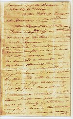 The first page of William Barret Travis's letter, To the People of Texas & All Americans in the World