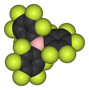 Tris(pentafluorophenyl)borane - Image: Tris(pentafluorophen yl)boron 3D vd W