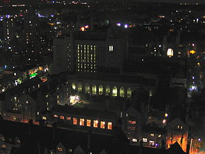 Trumbull College - Trumbull College by night, as seen from Harkness Tower.  The College spans the entire block shown, with Sterling Memorial Library forming the far side.  The courtyards, from left to right, are Potty Court, Main Court, and Stone Court.