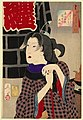 Tsukioka Yoshitoshi - Looking as if somebody is about to arrive - the appearance of a fireman's wife in the Kaei era.jpg