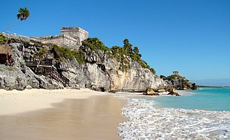 Caribbean Sea - Tulum, Maya city on the coast of the Caribbean in the state of Quintana Roo (Mexico)