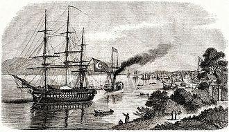 History of Batumi - An Ottoman navy frigate in the port of Batum during the Crimean War. c. 1854