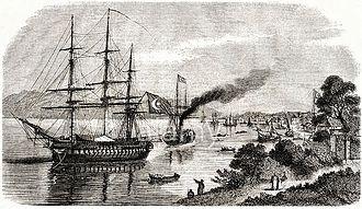 History of Batumi - An Ottoman navy frigate in the port of Batum during the Crimean War. c. 1854