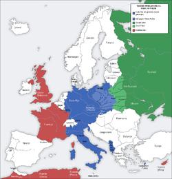 Europa in 1939 na de inval in polen. nazi-duitsland annexeerde west