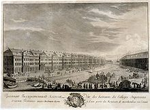 A black-and-white engraving shows a large building along the bank of a river, with numerous people and carriages nearby