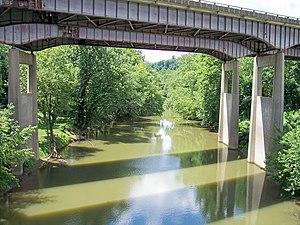 Twelvepole Creek - Twelvepole Creek near its mouth in Ceredo, flowing beneath Interstate 64