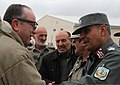 U.S. Air Force Gen. Philip M. Breedlove, left, the NATO supreme allied commander, Europe, greets Afghan National Police (ANP) Brig. Gen. Nasrullah Zarifi, right, the commander of Regional Training 140109-A-MH103-009.jpg