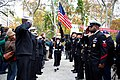 U.S. Sailors with Navy Recruiting District New York salute the U.S. flag during the opening ceremony of New York City's 2013 Veterans Day Parade, also known as America's Parade, Nov. 11, 2013 131111-N-YF306-061.jpg