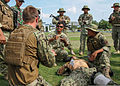 U.S. Sailors with Riverine Squadron (RIVRON) 1 participate in tactical combat casualty care training with Indonesian navy commandos June 5, 2012, in Surabaya, Indonesia, during Cooperation Afloat Readiness 120605-N-MB542-007.jpg