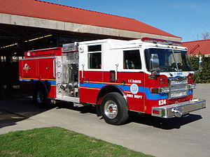 University of California, Davis Fire Department - UCDFD Engine 34. A 2007 Pierce 1750 GPM pumper with a 500-gallon tank and seating for five.