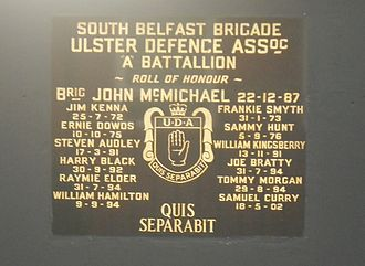 Ulster Defence Association - UDA South Belfast Brigade memorial plaque in Sandy Row