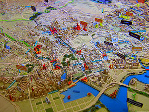 Urban planning in Singapore - A view of a model of the land use in the Singapore city centre.