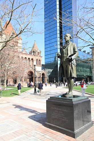 Copley Square - Lewis Cohen's John Singleton Copley, with Copley Square, Trinity Church, and the John Hancock Tower behind him
