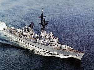 USS Claude V. Ricketts (DDG-5) underway off the Virginia Capes in 1986