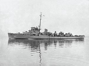 USS Doherty (DE-14) underway off the Mare Island Naval Shipyard on 23 February 1943 (NH 107268)